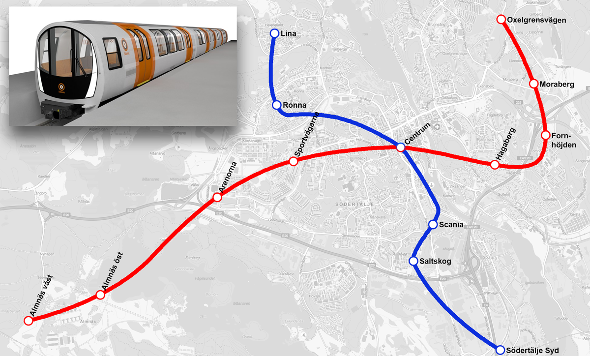 Karta över Södertäljes tunnelbana
